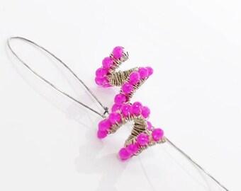 Pink Crystal Swirl Earrings Tilt A Whirl - Fuchsia Pink Earrings - Dangle Earrings - Pink Twist Earrings - Gift for Her - Earrings Gift