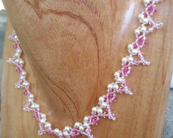 Necklace | Handmade | Beaded | Rose Pink Crystal & Pearl