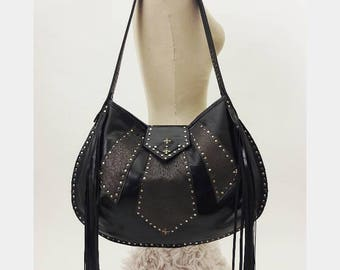 SALE Large Half Moon Bag in Smooth Black with Dark Mauve and Mixed Metals