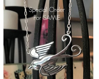 Swallow Bird Necklace SAMIE ORDER Carved Sterling Silver Pendant On Sterling Chain OOAK Artist Made Handcrafted