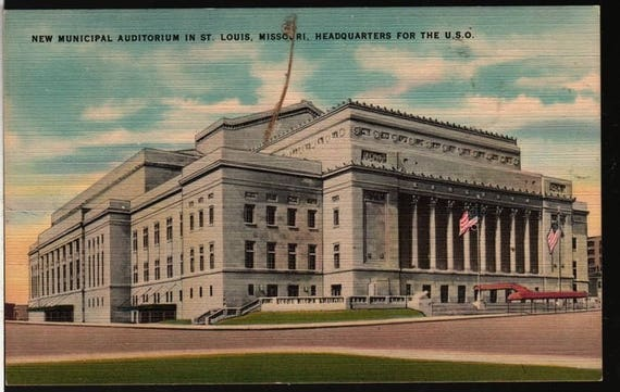 New Municipal Auditorium – St. Louis, Missouri – U.S.O. - Vintage Postcard