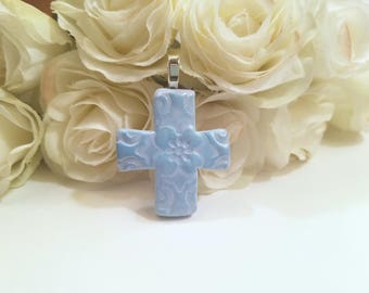 Cross Pendant with Flower, Light Blue Jewelry, Optional Necklace, Gift for Christian, Handmade Polymer Clay