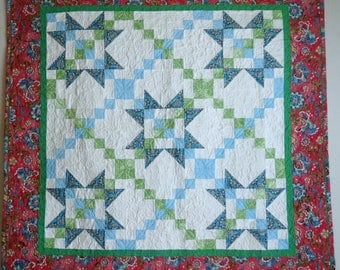 WallHanging Quilt, Star Quilt, Daisy Garland in bright Boho prints, pink, blue, green, home decor quilt, table topper, colorful quilt
