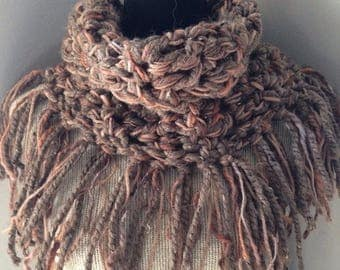 SALE Chunky Brown Crochet Fringe Cowl endless infinity cowl