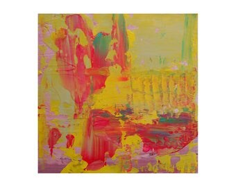 """Modern Abstract Painting """"Agleam"""" by Lisa Carney, 12x12 Textured Acrylic on Wood, Color Field Art, Paint Build-Up, Yellow, Pink"""