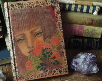 Danita Altered vintage book mixed media pencil drawing Mother nature, roses and washi tape on old recycled book. Beautiful redhead woman