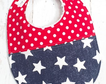 Baby Bib Gender Neutral - Duet Collection - Boy or Girl Bib - Triple Layer Chenille - patriotic, stars, red, white & blue - 4TH OF JULY