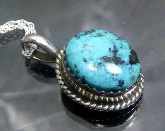 Navajo Turquoise Pendant Sterling Silver oval cabochon necklace Native American Indian