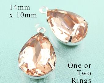 Peach Glass Beads - 14x10 Teardrop - Rhinestone Glass Gems - Set Stones - 14mm x 10mm Pear - Jewelry Supply - One Pair