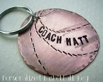 Basketball Key Chain - Hand Stamped Rustic Antiqued Copper or brass, sterling silver soldered back sports Key Chain, Custom Personalized
