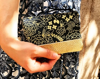 Floral Navy Metallic Gold Leather Pouch, Coin Purse, Change Wallet, Small Zipper Pouch