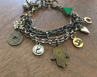 LUCKY YOU Upcycled Vintage CHARM Bracelet with Om, Hamsa, Horseshoe, Lotus, Coin, Heart, Yin Yang