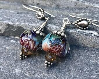 Boro Earrings, Lampwork Earrings, Sterling Silver Handmade Earwires Hazy Purple and Brown