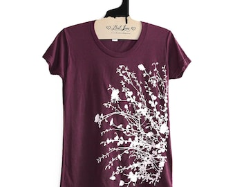 Fitted Large -  Soft  Tri-blend Berry Ladies Tee with Flowering Branches Print