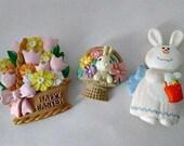 Lot Easter Vintage Pins - Hallmark Hong Kong Plastic Pins - Easter Bunny Basket