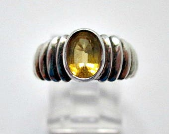 Simulated Topaz Sterling Silver Ring - Vintage Ring - Size 6 Ring - Marked 925