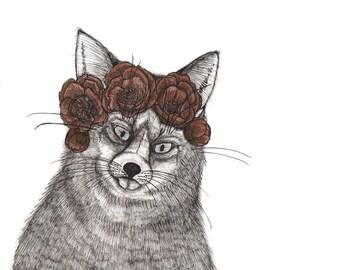 Vixen Fox Wearing a Gilded Crown of Peonies ORIGINAL artwork ink drawing on paper for Inktober 2017 8 x 8