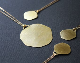 Gold disc necklace large gold pendant necklace long circle necklace round metalsmith jewelry geometric brass big modern - Onawa Necklaces