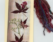 pressed flowers, nature collage, bookmark, dried flower art, tag art