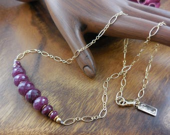 Gold-filled ruby corundum necklace