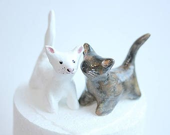 Cat Wedding cake topper,White Cat Wedding Cake Topper,Tortoise shell Cat,Black and White Cat,Cat Birthday topper,Animal Cake Topper