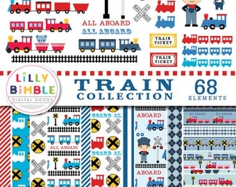 40% off Train Digital Paper and Clipart, 68 images for Train Theme Birthday Parties, Conductor, clip art, TRAIN COLLECTION, commercial use,