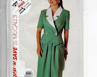 McCalls' Misses' Unlined Jacket and Skirt Pattern 4660