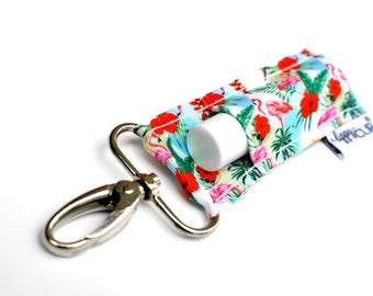 LippyClip® Lip Balm Holder for Chapstick, Burt's Bees, etc. |  Clip-On Keychain | Flamingos and Floral