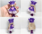 Princess Bendy Doll- Valentine Princess, Waldorf Bendable Felt Doll- Dollhouse Doll- Miniature Fairytale Princess- Small Doll- Queen