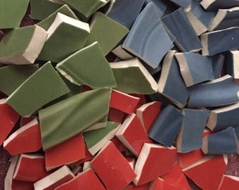 300 Mosaic Tiles Solid Color Mexican Mix Broken Plates Red Blue  Green