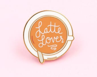 Latte Enamel Pin - cute enamel mug pin, coffee pin, latte pin, coffee enamel pin