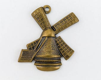 19mm Antique Brass Rustic Windmill Charm #347A
