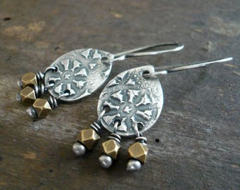NEW Soleil Collection Drops Earrings - Oxidized fine silver. Brass. Mixed Metal. Handmade