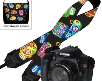 Cute Sugar Skulls Camera Strap, Padded Camera Strap, Nikon Camera Strap Canon, Camera Neck Strap, DSLR Camera Strap, Camera Accessories  MTO