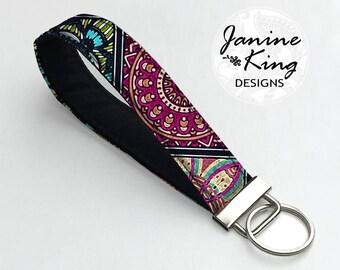 Fabric Key Fob, Keychain Wristlet, Key Holder, Key Chain, Fabric Keychain, Wrist Key Holder ,Bridesmaid Gift , colorful Boho Mandala  MTO