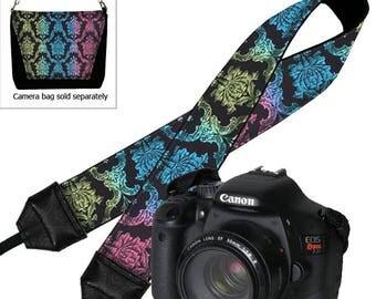 Bohemian Camera Strap, DSLR Camera Straps, Padded Camera Strap,  Nikon Camera Strap, Canon Strap,  Camera Accessories,  colorful damask RTS