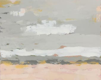 large abstract landscape painting abstract art grey white blush pink gold pamela munger