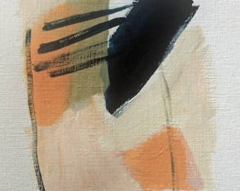 abstract painting acrylic painting on paper small abstract painting blue and peach pamela munger original