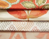 CLEARANCE - 4 pieces orange multi fabrics, 7.5 x 9 inches