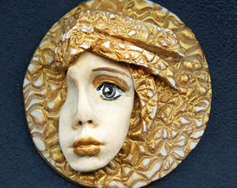 OOAK Polymer clay Detailed Golden layered hat face cab GANM 1