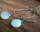 aqua chalcedony on handmade hammered rings - dangle earrings - oxidized silver