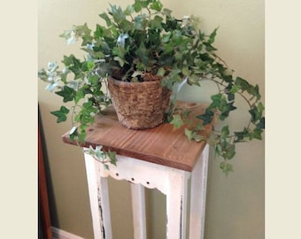 Rustic Wooden Plant Stand,  Shabby, Chippy, Refurbished, Side Table, Narrow Display
