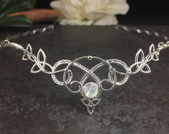 Bridal Circlet, Bohemian Celtic Wedding, Woodland Bridal Tiara, Sterling Silver wedding circlet, Celtic Wedding, Irish Wedding