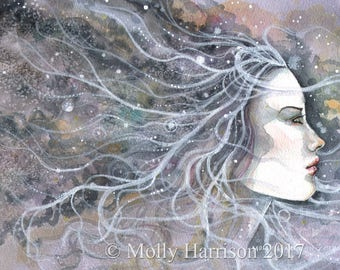 Original Watercolor Painting - Spirit- Profile of Woman - Molly Harrison Fantasy Art - Mixed Media - Modern, Contemporary