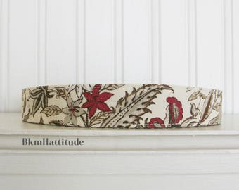 Womens Headband, Fabric Headband, White, Brown, and Red,  Floral Headband, Adult Headband, Cotton Headband