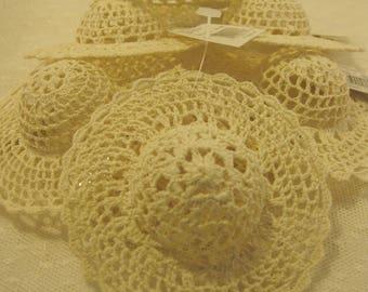 Doll Hats, Crochet Doll Hats, Craft Supply Destash, Set of 7, 4 Inch, Crochet Doll Hats in Beige