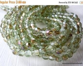 25% OFF Sale 4mm Czech Beads - Peridot Twilight Firepolished Faceted 50 pcs (G - 100)