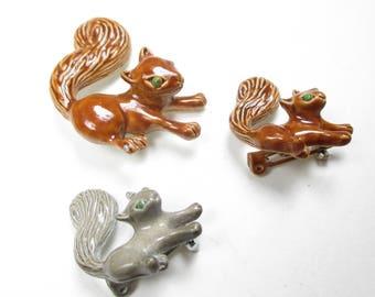 Vintage Gerry's Squirrel Pins Brooches Set of 3 Enameled Brown Grey