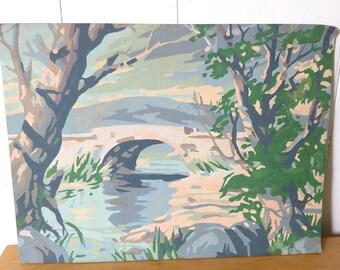 vintage scenic bridge paint by number