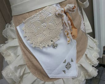 Womens Aprons - Bohemian Aprons - Rustic Lace Aprons - Shabby Chic Aprons - Cottage Chic Aprons - BoHo Wedding Aprons - Annies Attic Aprons